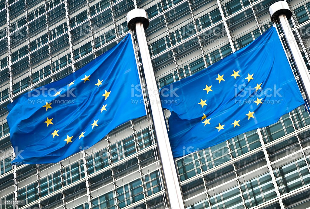 Pair of EU flags at European Commission, Brussels royalty-free stock photo