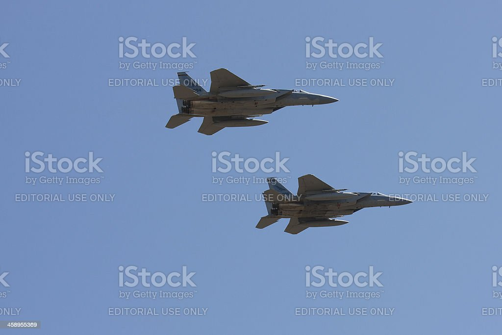 Pair of F-15 Eagles in Flight stock photo
