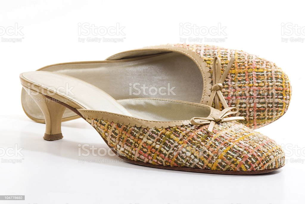 Pair of fabric shoes stock photo