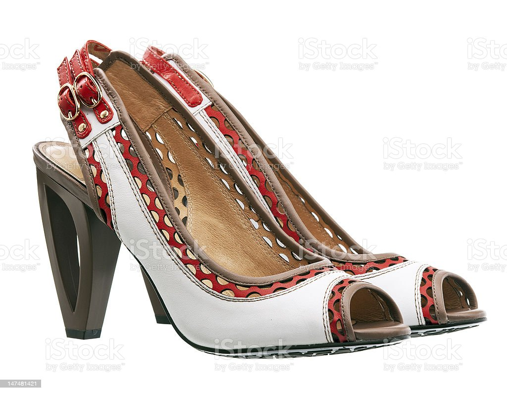 Pair of fashion female shoes isolated over white stock photo