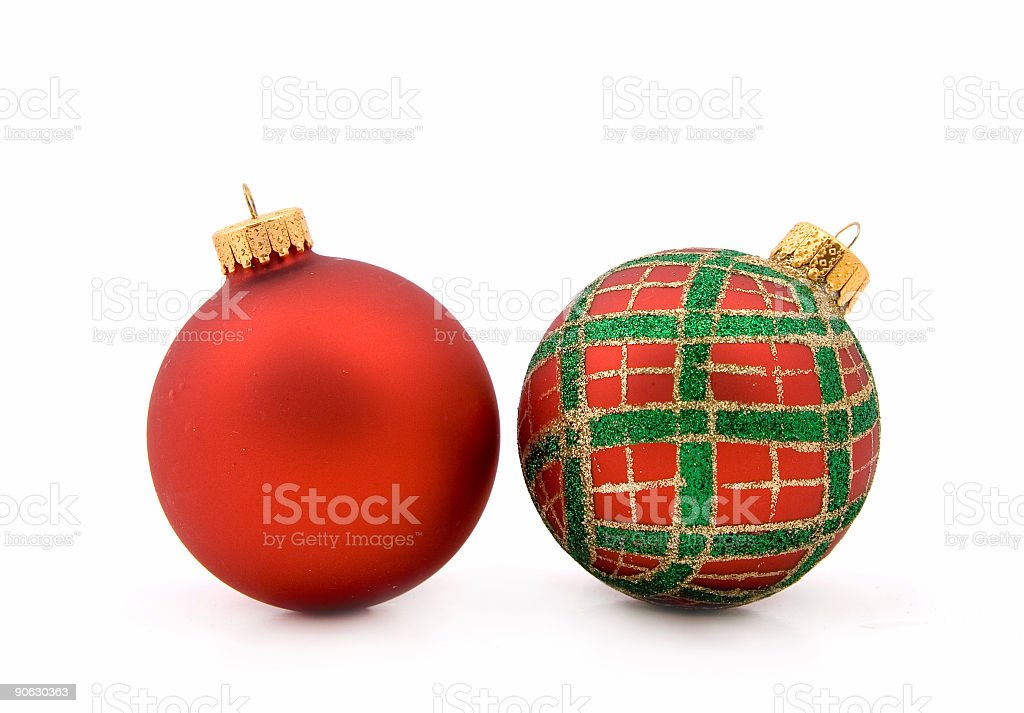 Pair of festive baubles royalty-free stock photo
