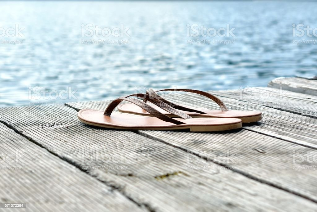 A pair of flipflops stock photo