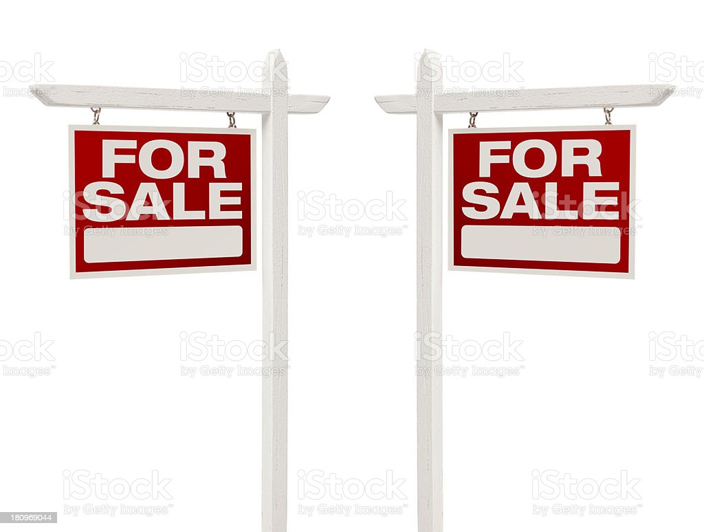 Pair of For Sale Real Estate Signs With Clipping Path stock photo
