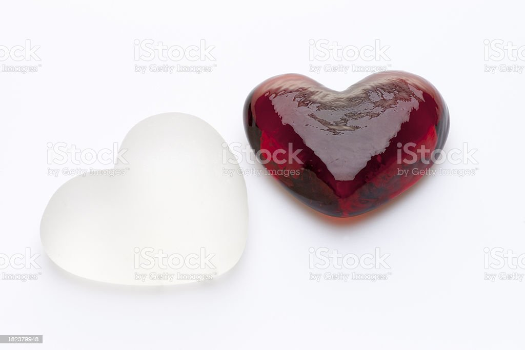 Pair of Glass Hearts stock photo