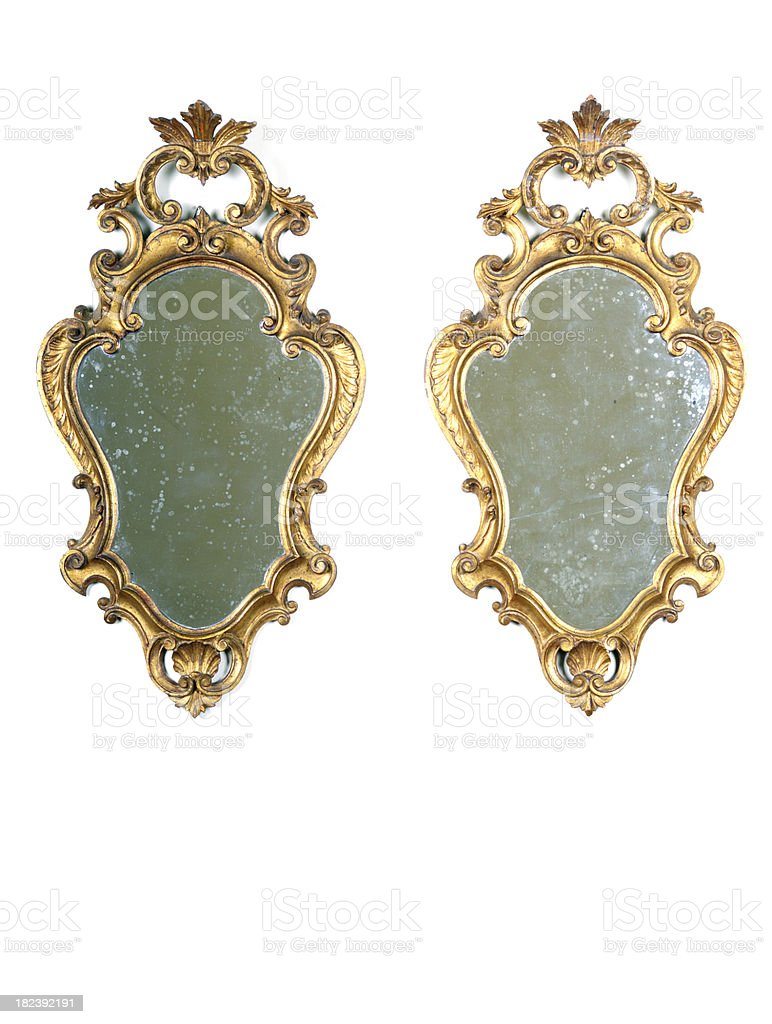 Pair of Gold Ancient Mirrors.Isolated.Copy Space royalty-free stock photo