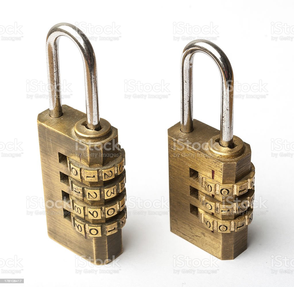 Pair of golden code master key stock photo