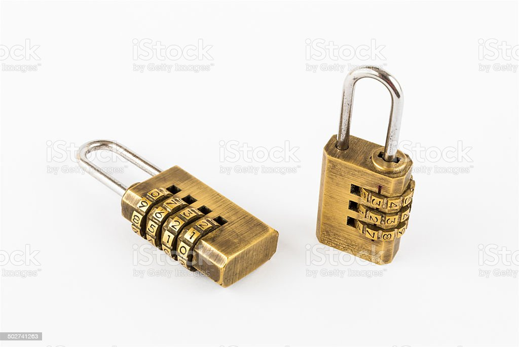 Pair of Golden Code Master Keys stock photo