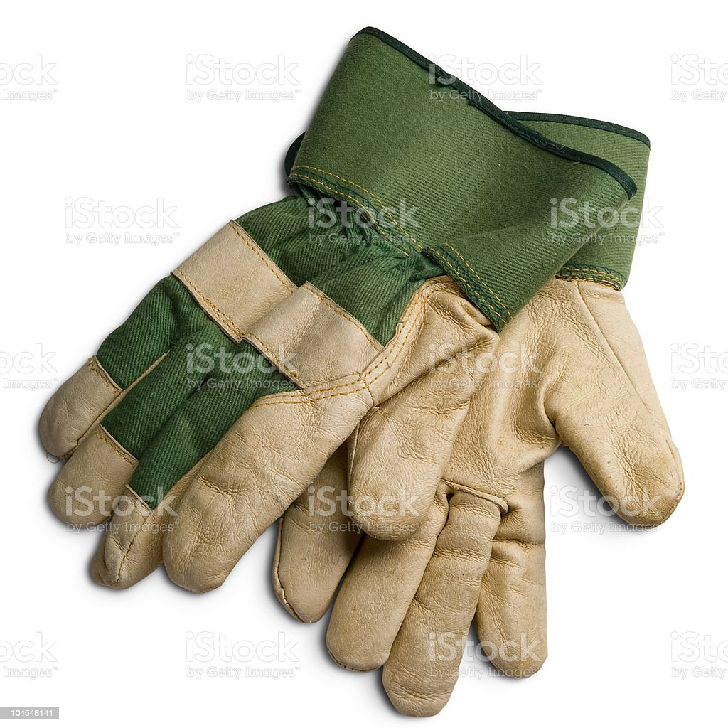 A pair of green and beige gardening gloves royalty-free stock photo