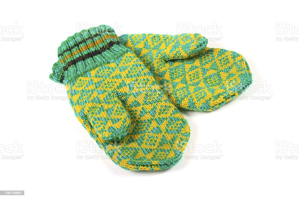 pair of green knitted gloves stock photo