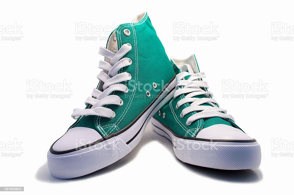 pair of green sneakers stock photo