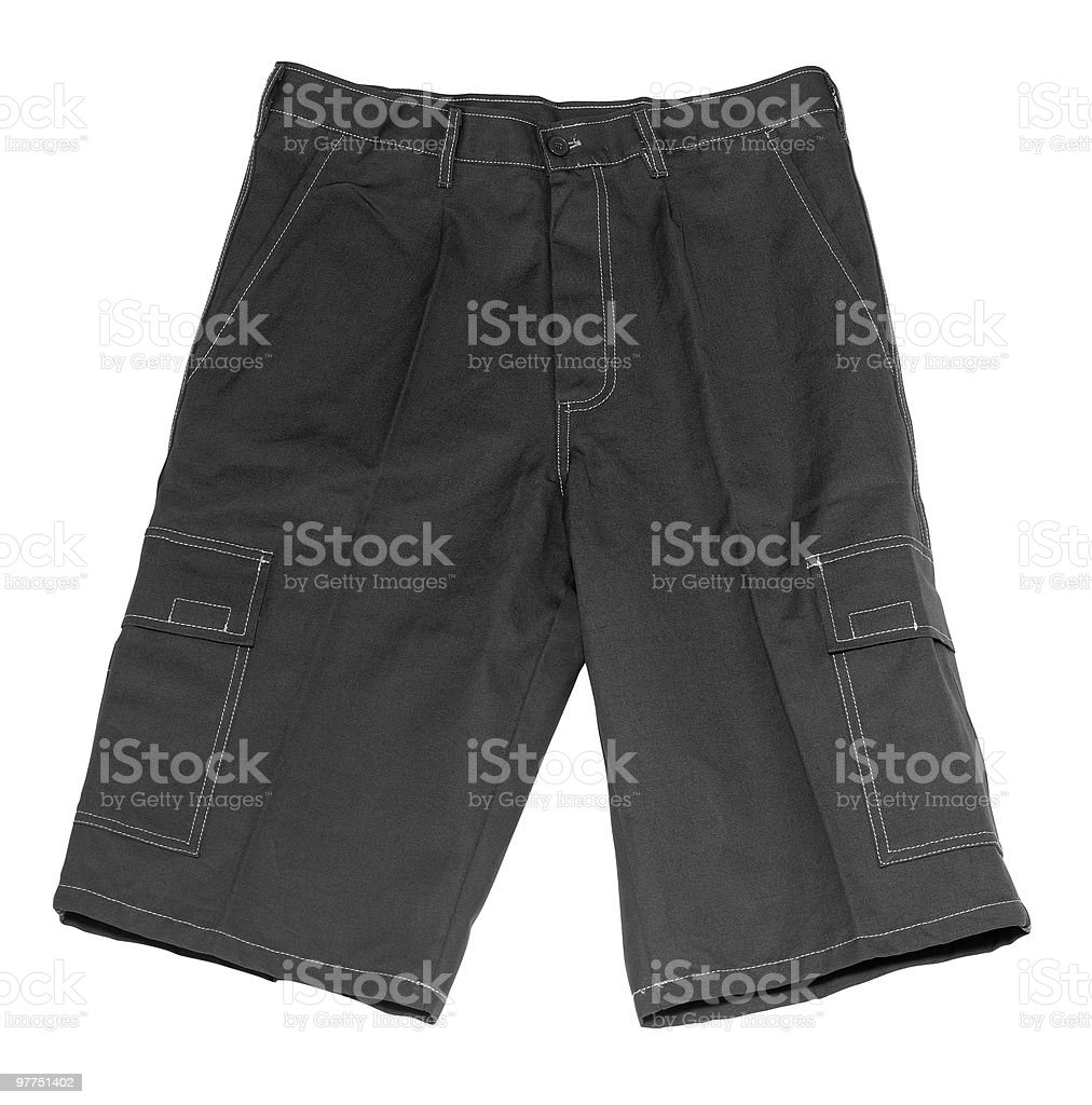 pair of grey shorts stock photo