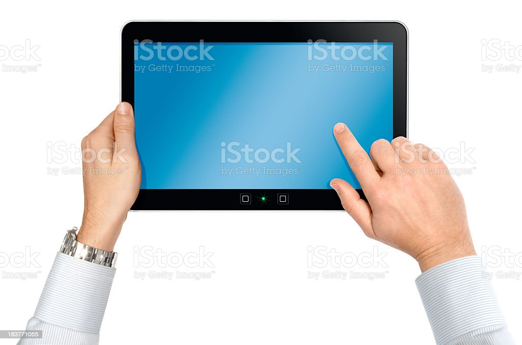 Pair of Hands From Above Using Smart Tablet Isolated royalty-free stock photo