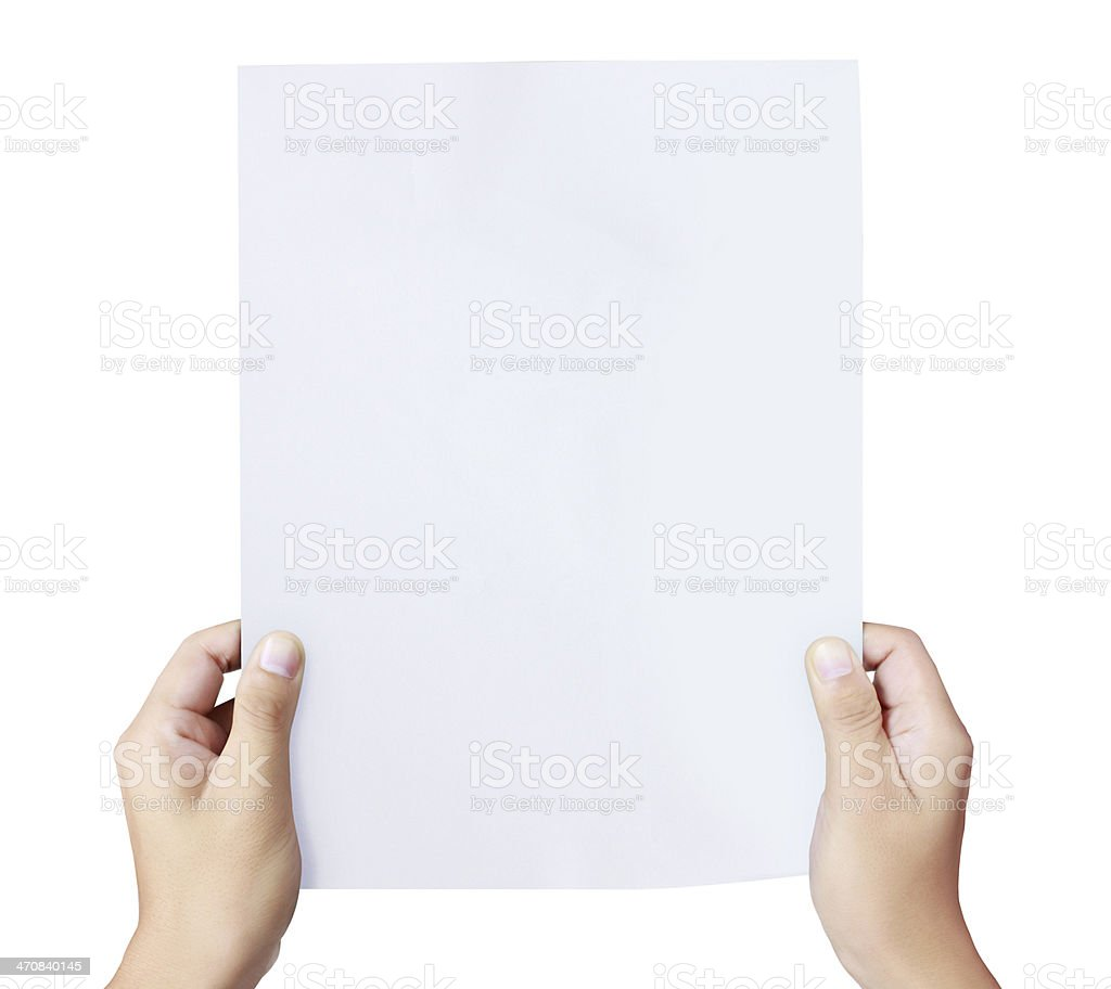 Pair of hands holding white blank paper stock photo