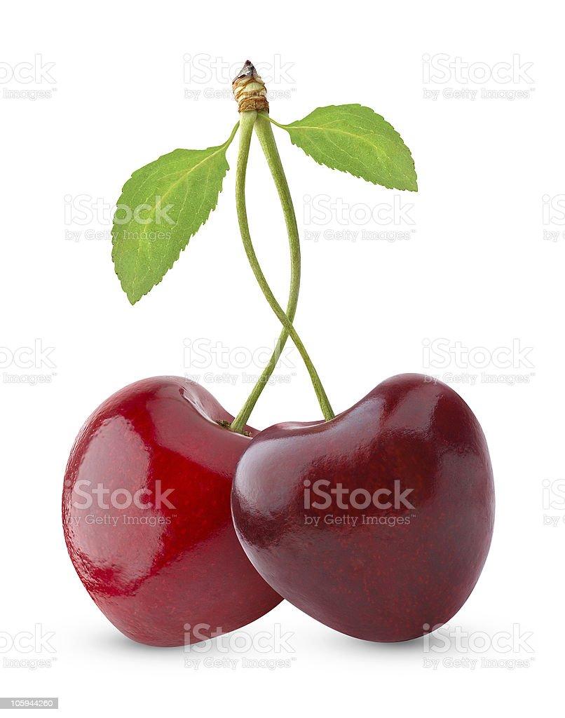 Pair of heart-shaped sweet cherries stock photo