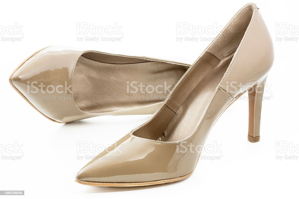 Pair of high heels isolated on white background stock photo