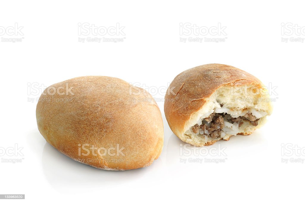 Pair of hot patties with meat and rice royalty-free stock photo