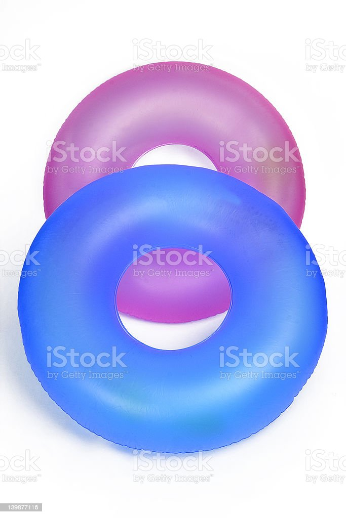 Pair of Inflatable Round Pool Tubes royalty-free stock photo