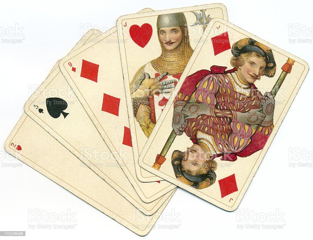 Pair of jacks in random poker hand Dondorf Shakespeare stock photo