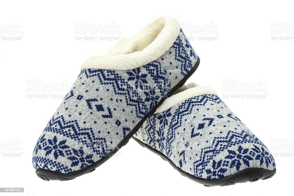 Pair of ladies fluffy slippers stock photo