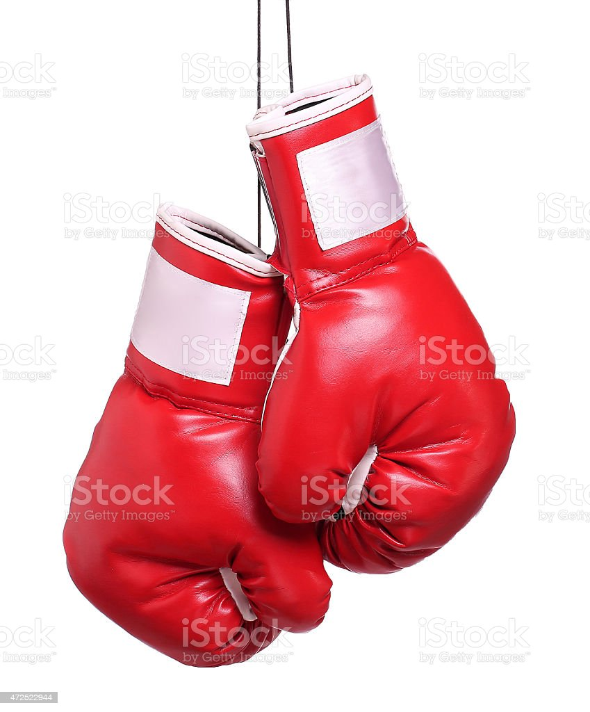 Pair of leather boxing gloves isolated stock photo