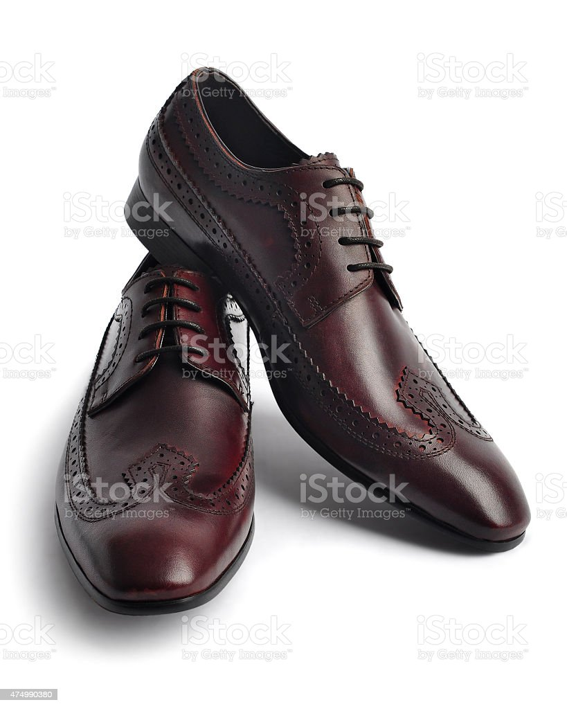Pair of leather men's shoes stock photo