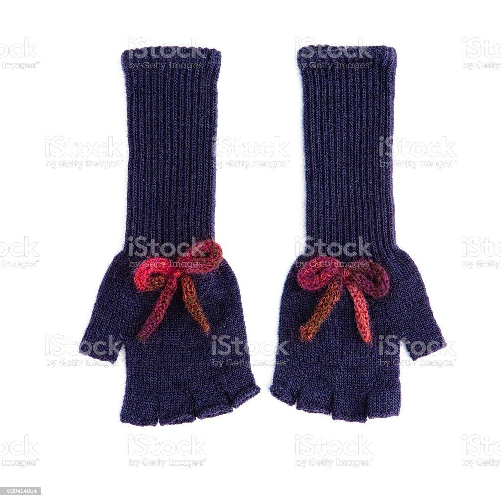 pair of long dark blue fingerless woolen gloves stock photo