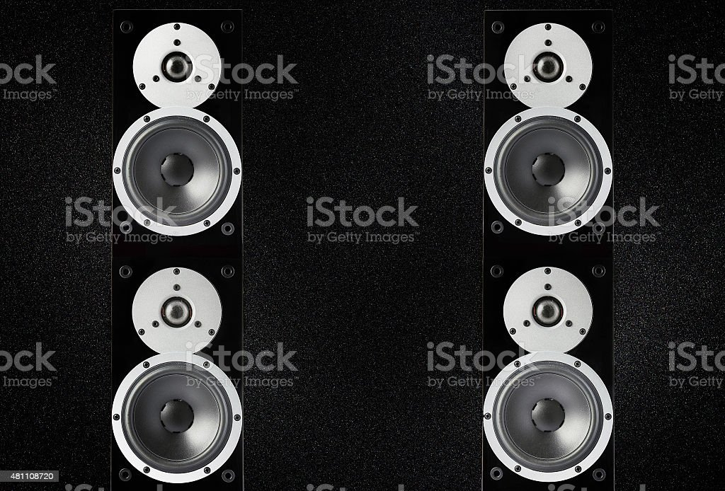 Pair of loudspeakers stock photo