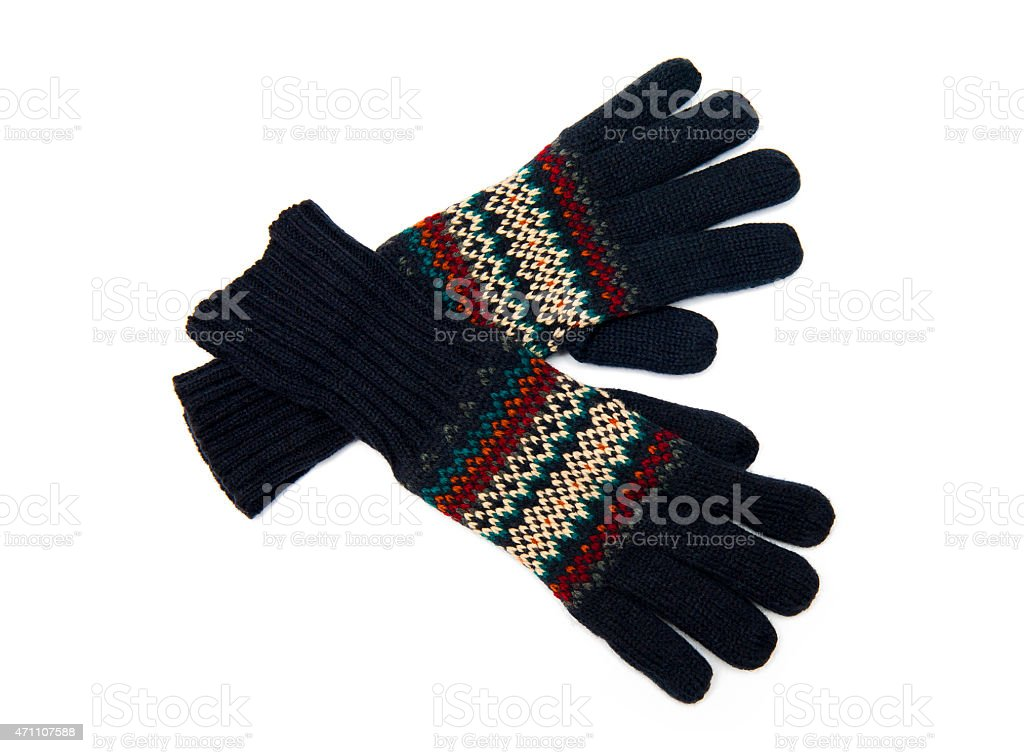 Pair of male knitted black gloves stock photo
