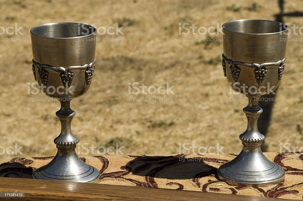 Pair of Medieval Chalices stock photo
