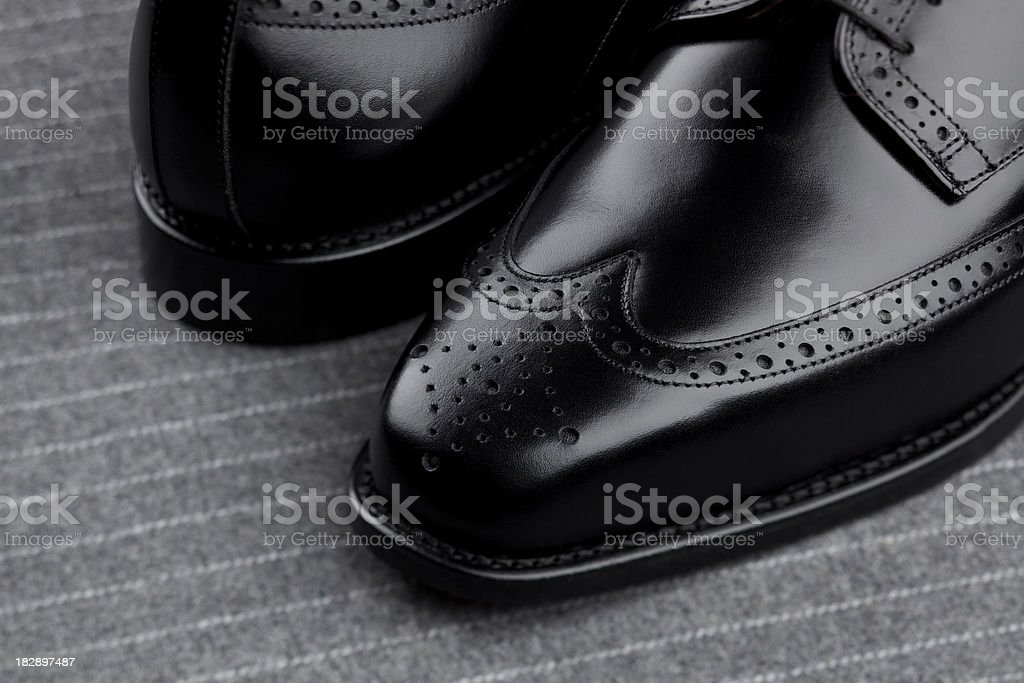 Pair of mens black shoes stock photo