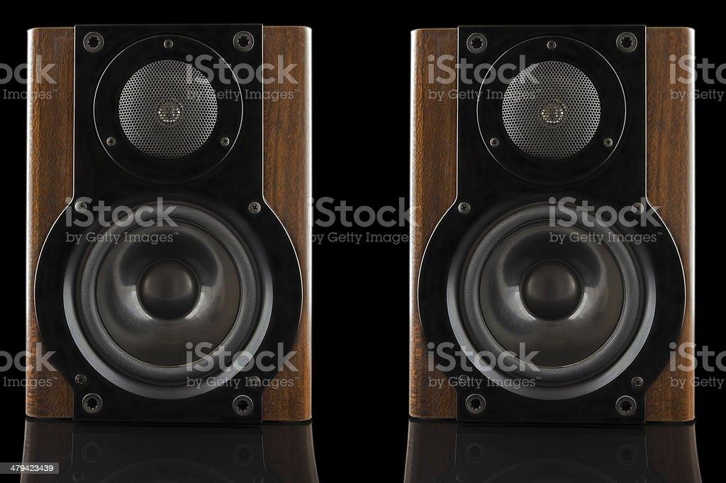 Pair of modern sound speakers stock photo