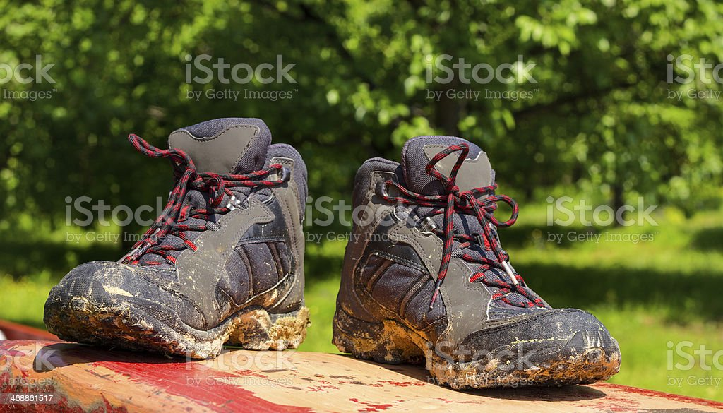 Pair of muddy boots royalty-free stock photo