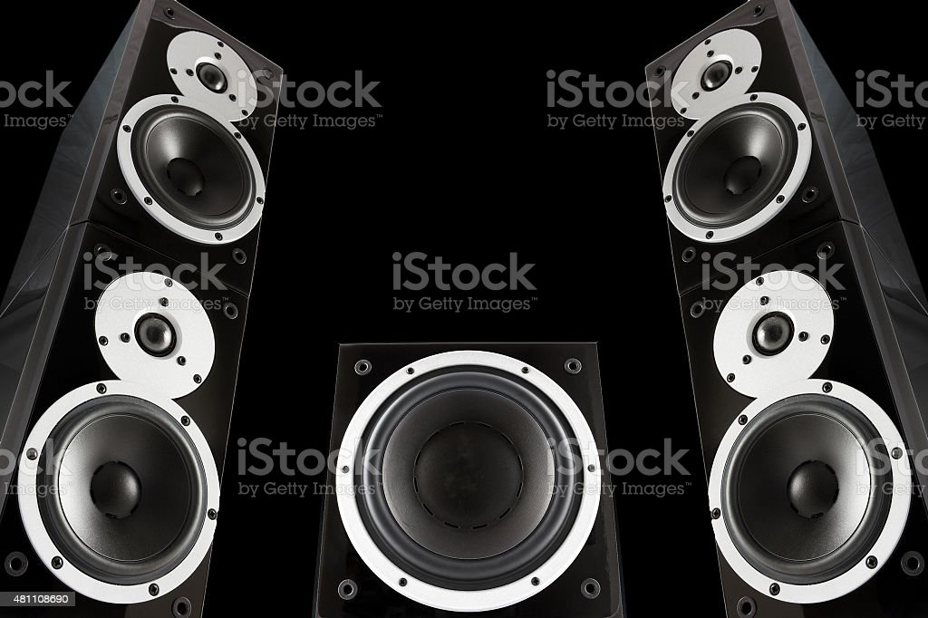 Pair of music speakers and subwoofer stock photo