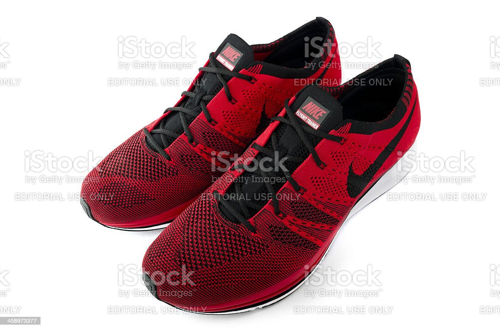 Pair of Nike Flyknit Trainers royalty-free stock photo