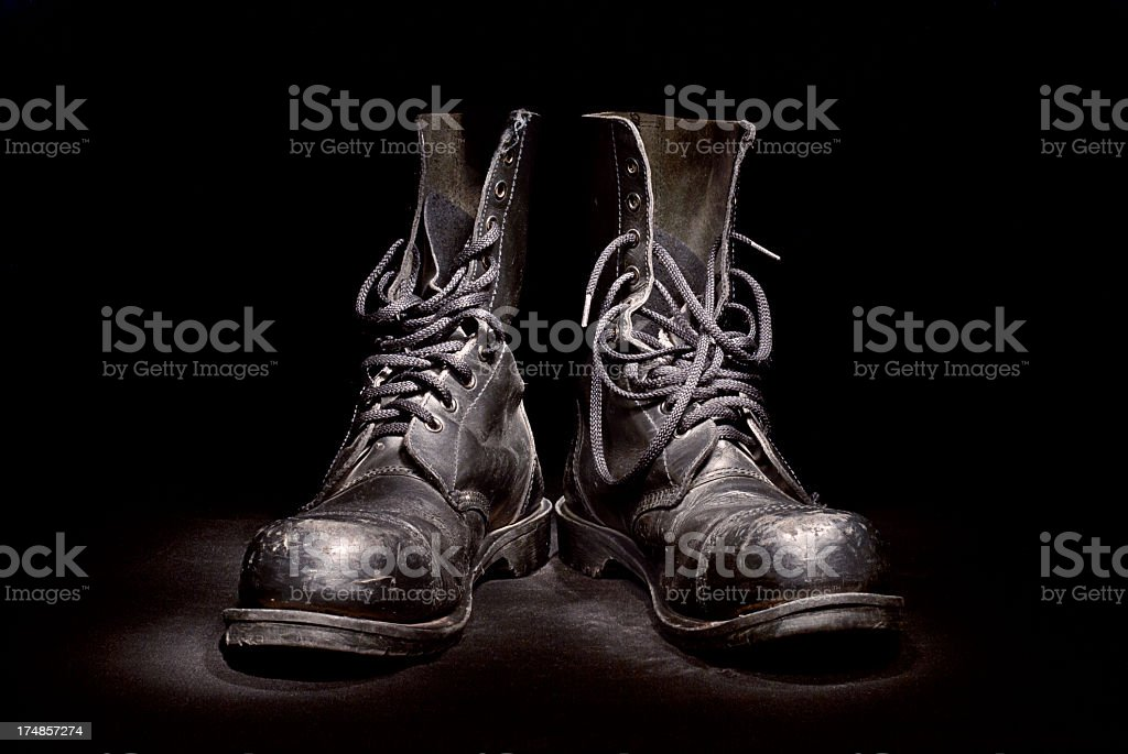 Pair of old boots stock photo
