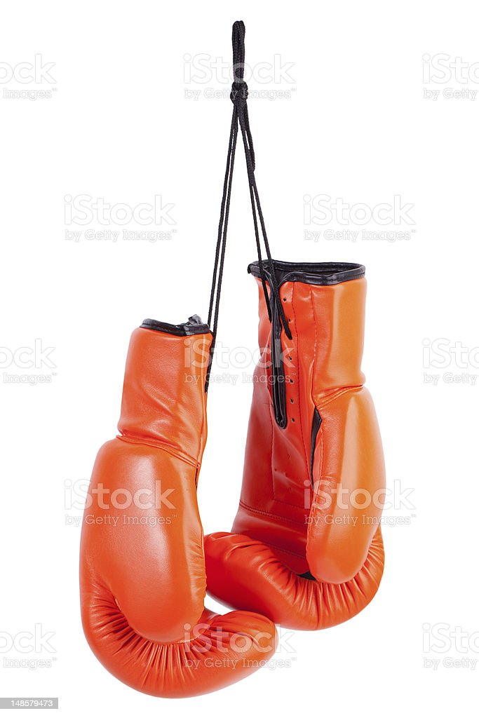 Pair of orange boxing gloves royalty-free stock photo