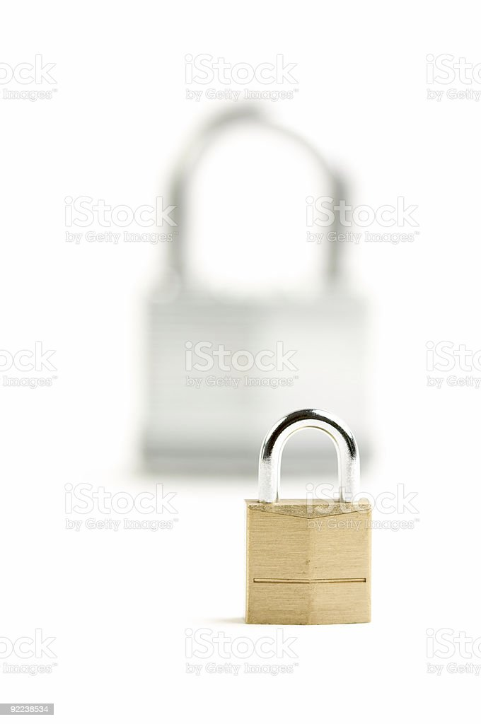 Pair of Padlocks on White Background royalty-free stock photo
