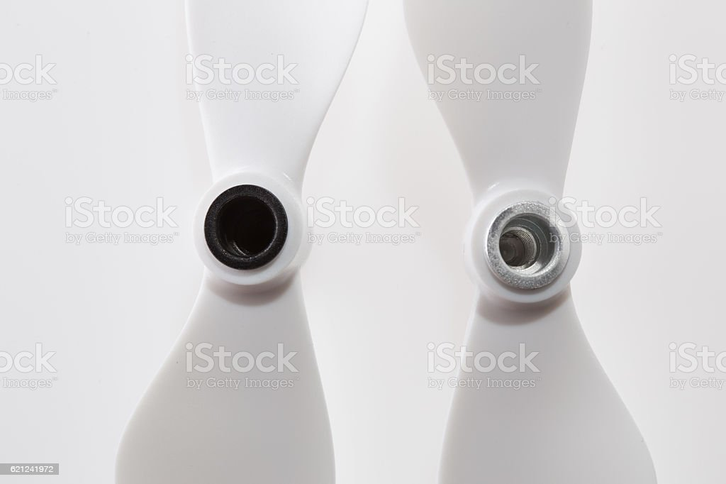 Pair of plastic self-tightening propellers for a quadcopter drone stock photo