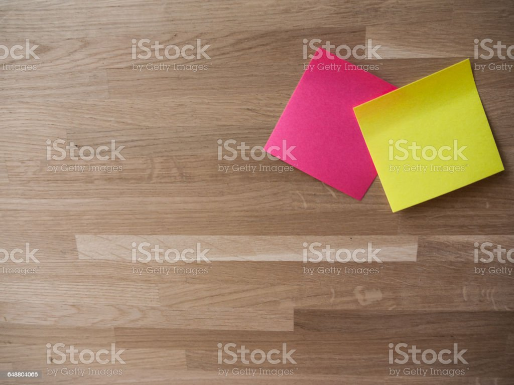 A Pair of Post Its stock photo
