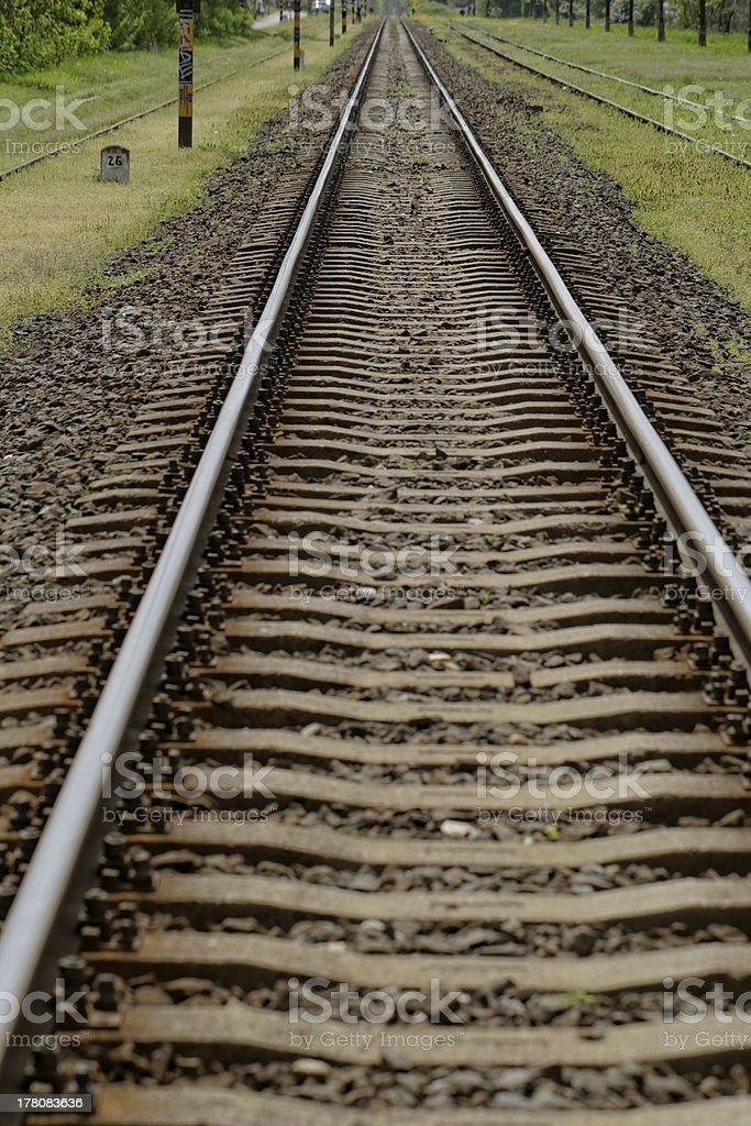 pair of railway track royalty-free stock photo