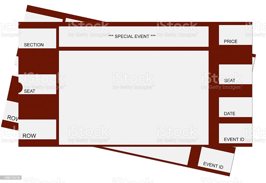 Pair of red and white tickets for an unspecified event stock photo