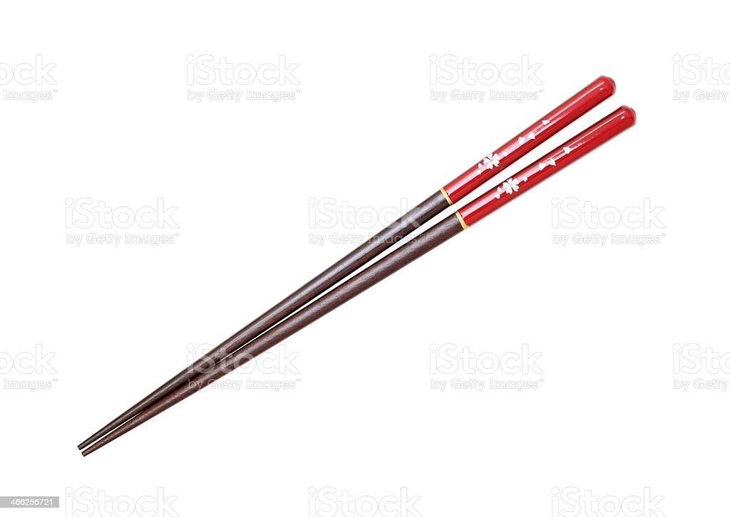 Pair of red chopsticks stock photo