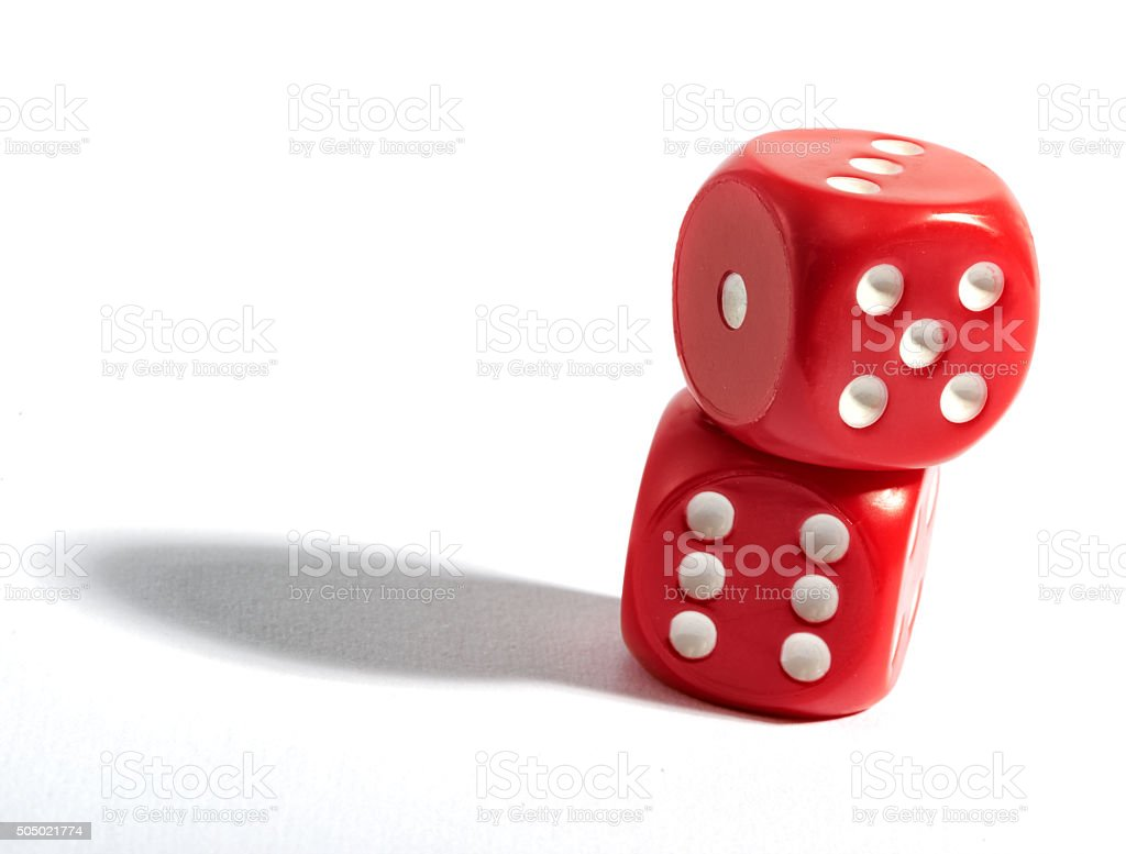 Pair of red dice on white stock photo