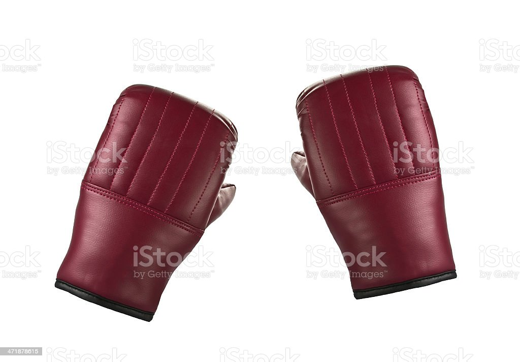 Pair of red leather boxing gloves royalty-free stock photo