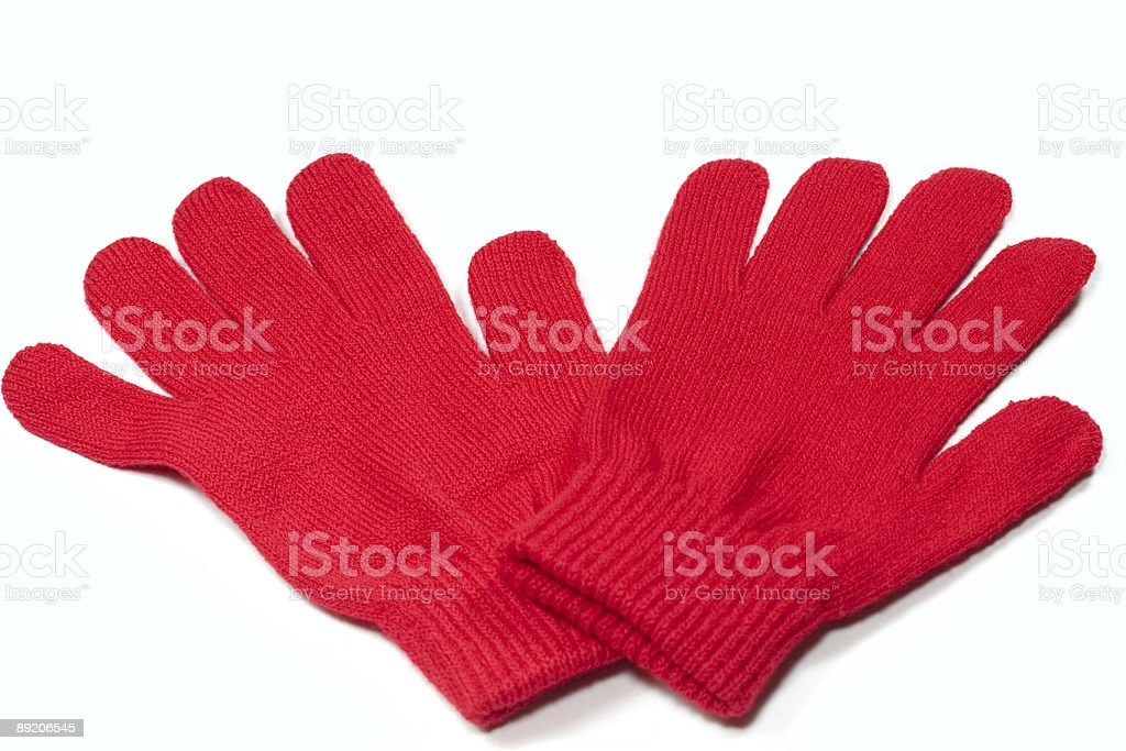 Pair of red mittens royalty-free stock photo