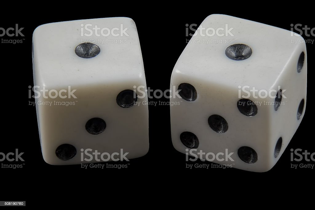 Pair of rolled dice showing double one stock photo