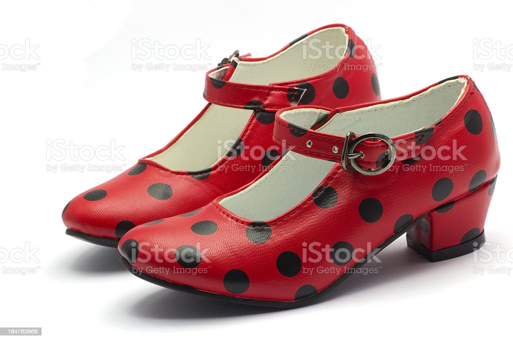 Pair of Sevillian flamenco dancing shoes.Red shoes with black do stock photo