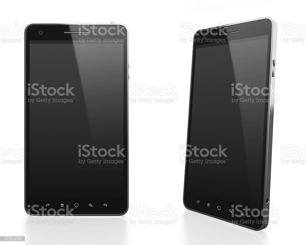Pair of smartphones at different angles on white stock photo