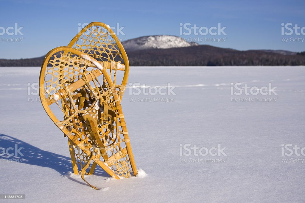 Pair of Snowshoes in the Snow royalty-free stock photo
