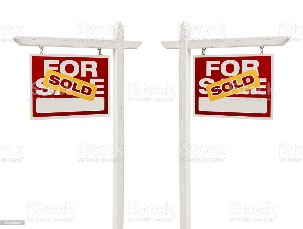 Pair of Sold For Sale Real Estate Signs, Clipping Path stock photo